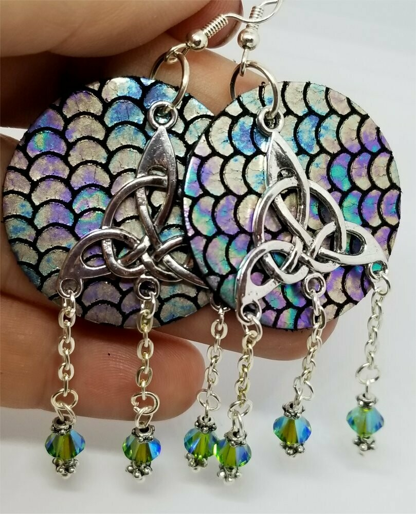 Shimmering Mermaid Real Leather Circle Earrings with a Triquetra Chandelier Overlay and Swarovski Crystal Dangles