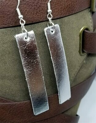 Silver Metallic Finished Long Rectangular Real Leather Earrings