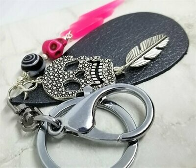 Skull and Lightning Charm Leather Keychain