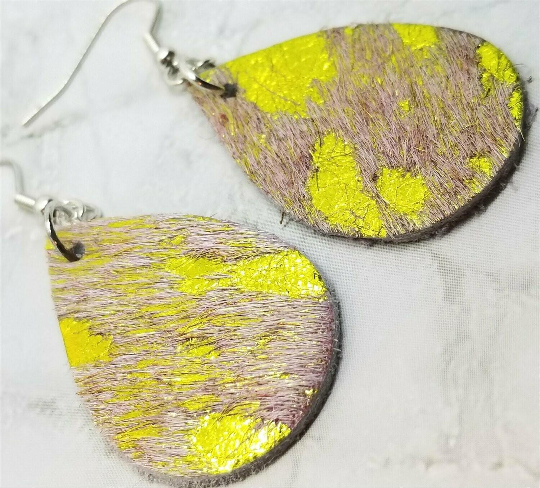 Small Hair on Hide Leather Tear Drop Earrings with Yellow Metallic Spots