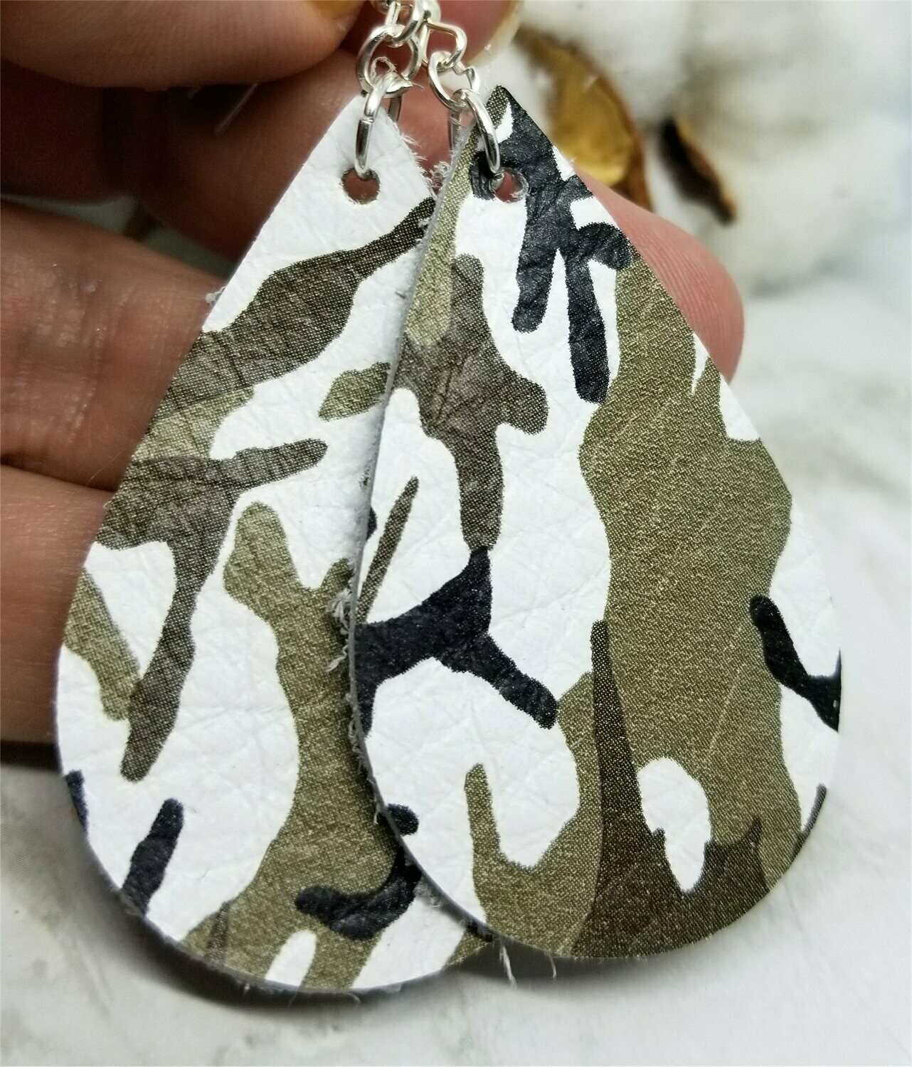 Soft Leather Green and White Camouflage Teardrop Earrings