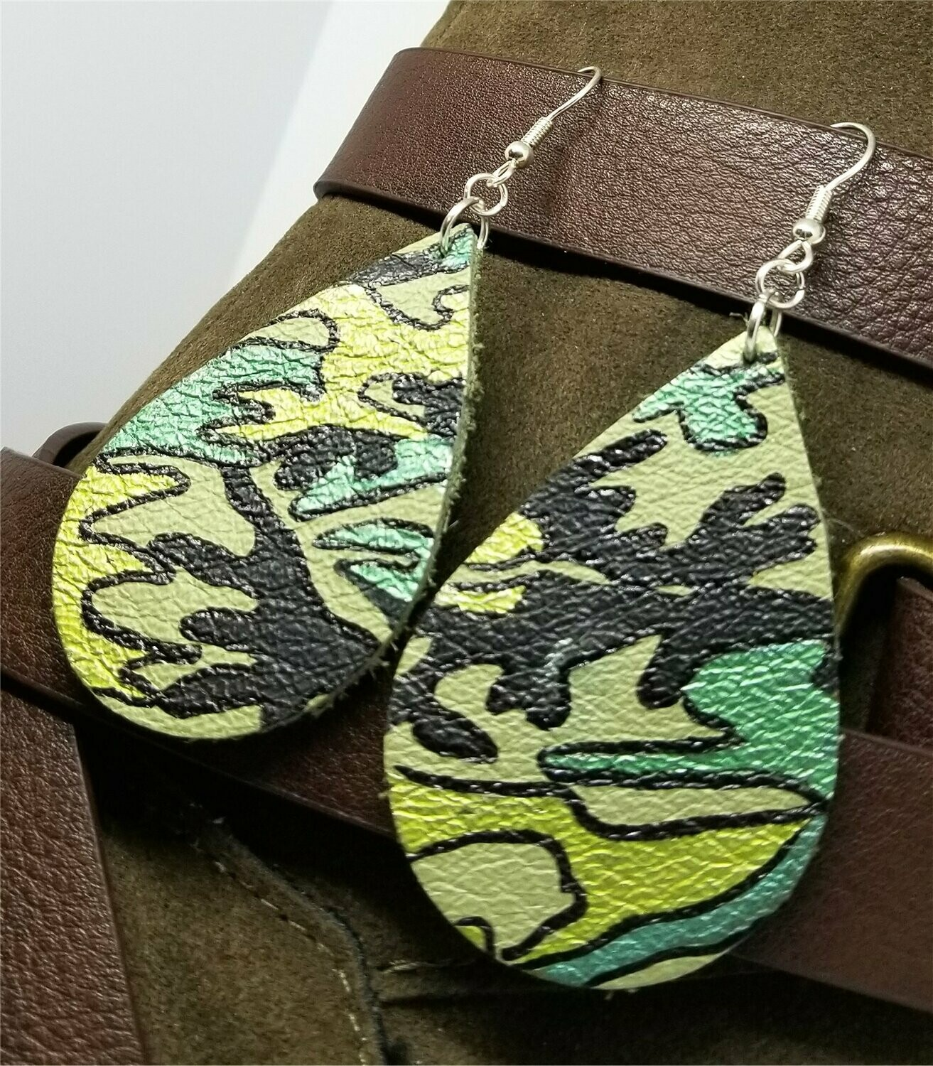 Soft Leather Painted Camouflage Teardrop Earrings