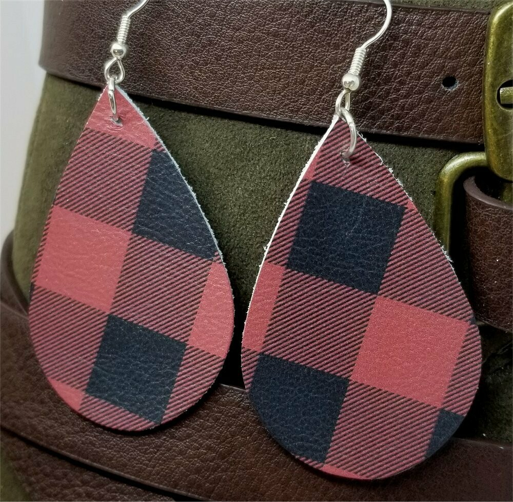 Soft Leather Red and Black Plaid Teardrop Earrings with Surgical Steel Earwires