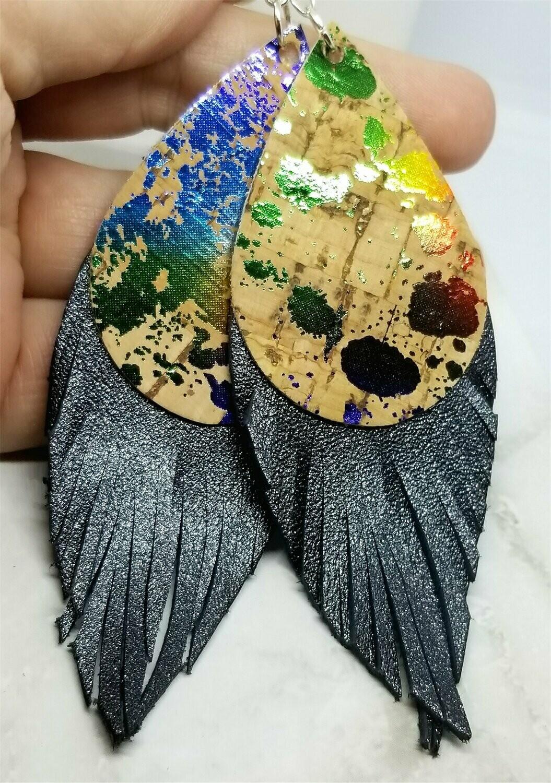 Splatter Painted Cork Teardrops with Real Leather Fringe Earrings