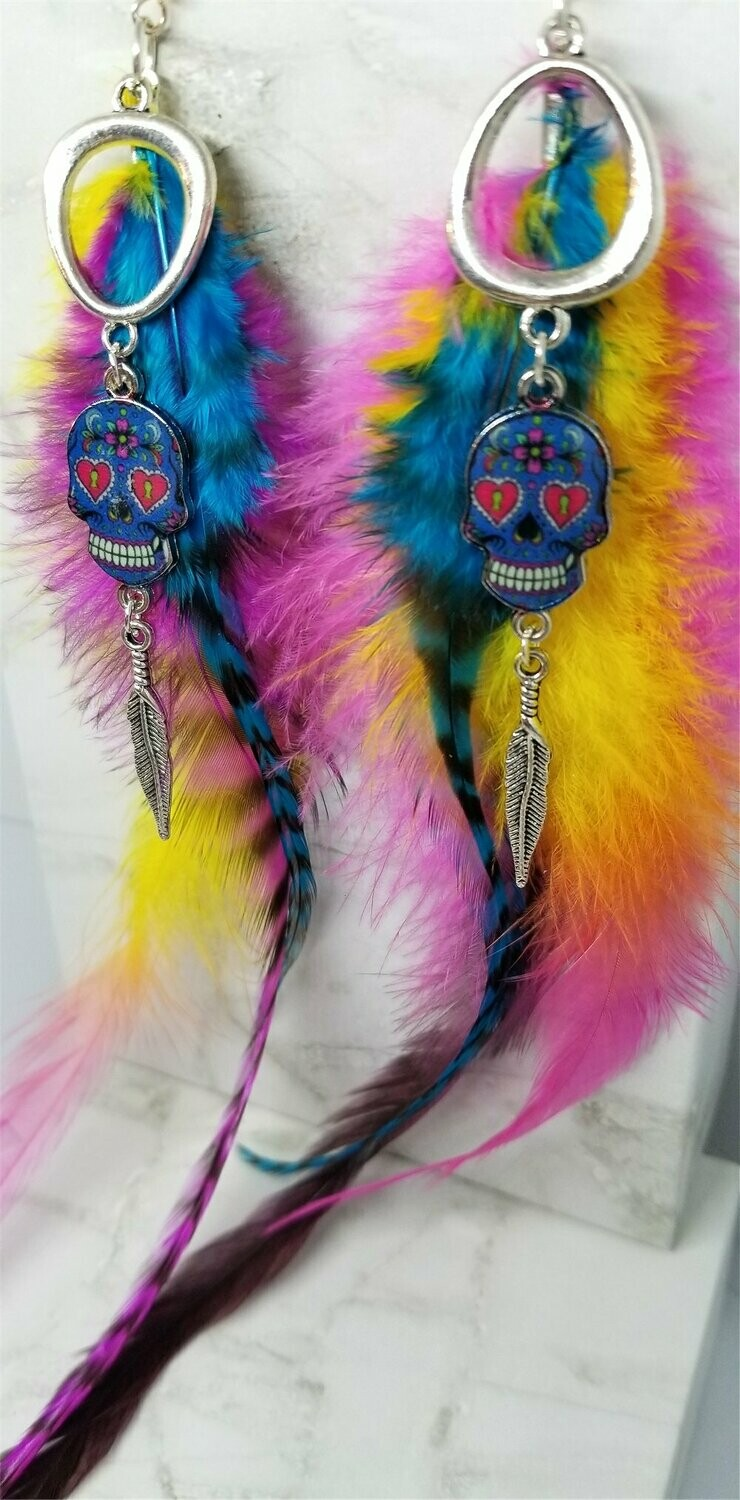 Sugar Skull Charm Earrings with Very Long Colorful Feathers