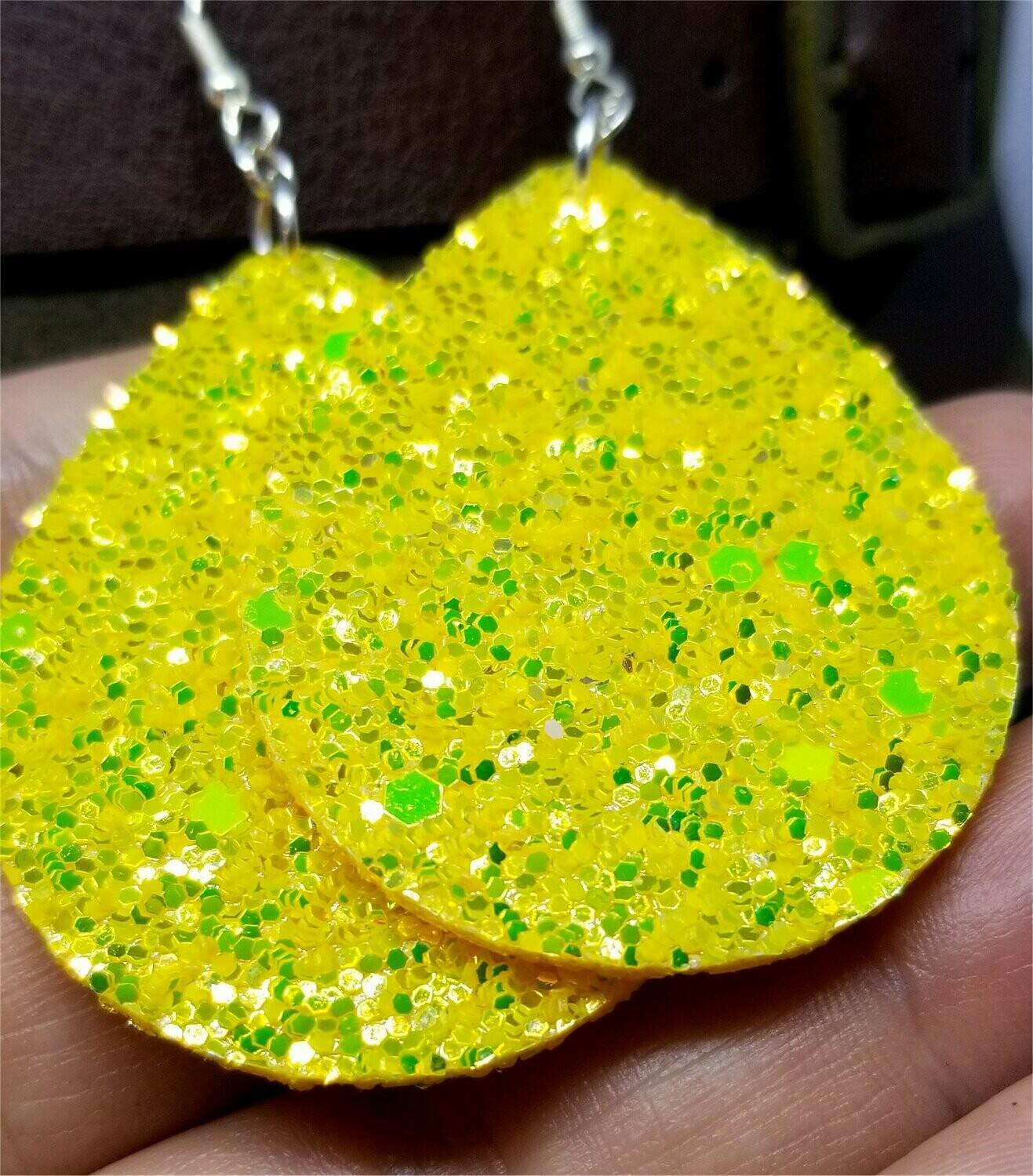 Sunshine Yellow Glitter Very Sparkly Double Sided FAUX Leather Teardrop Earrings