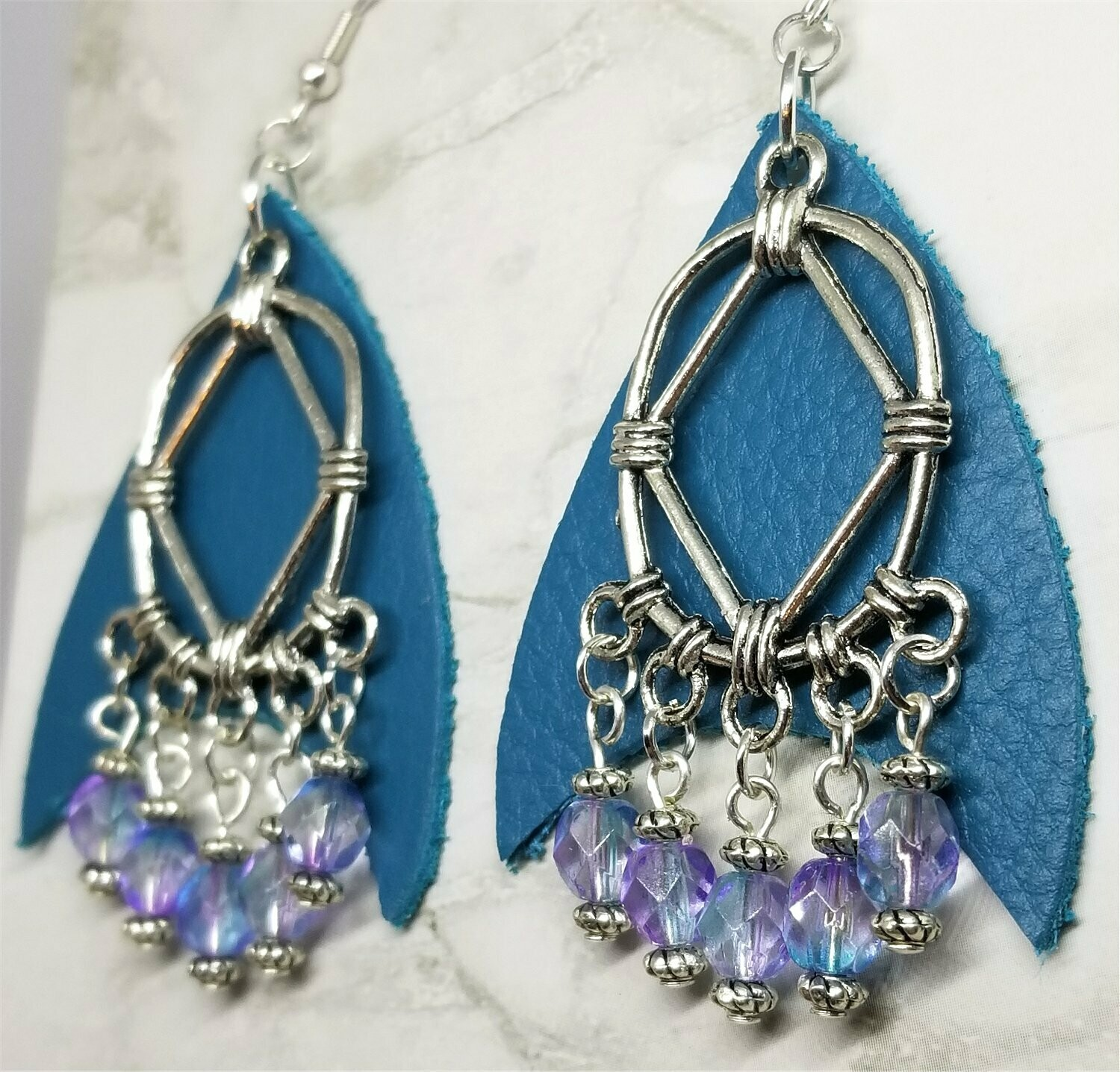 Teal Real Leather Earrings with Silver Chandelier and Czech Glass Bead Dangles