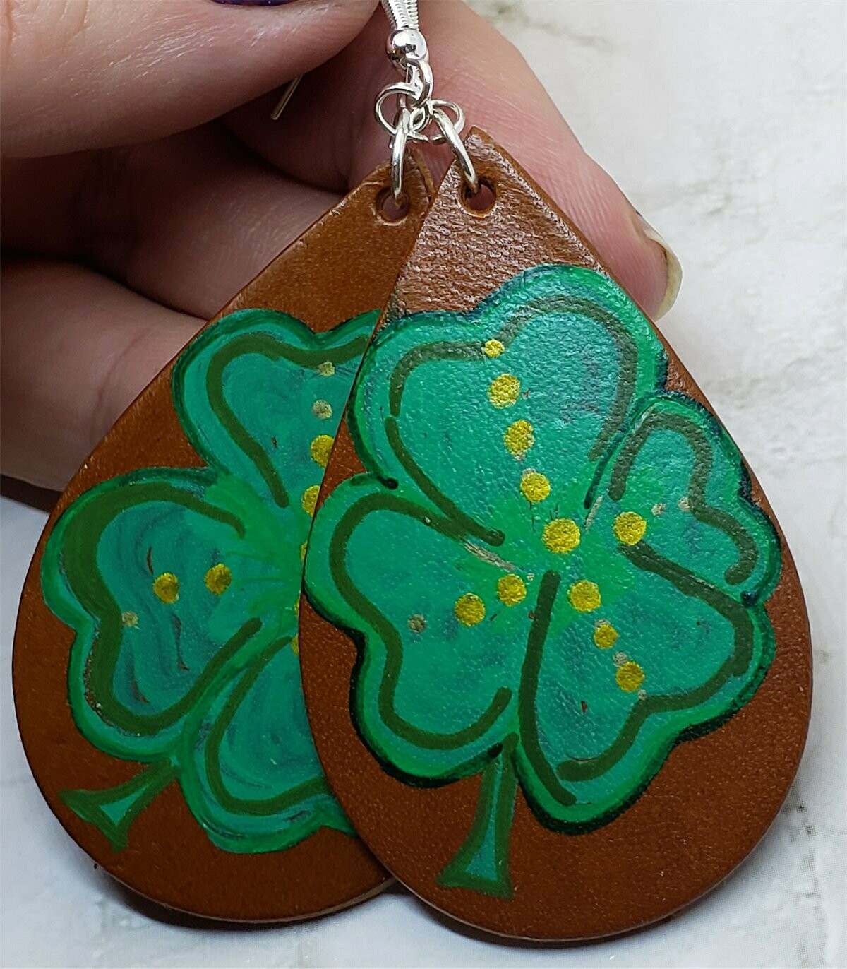 Hand Painted Shamrock Four Leaf Clover Real Leather Teardrop Earrings