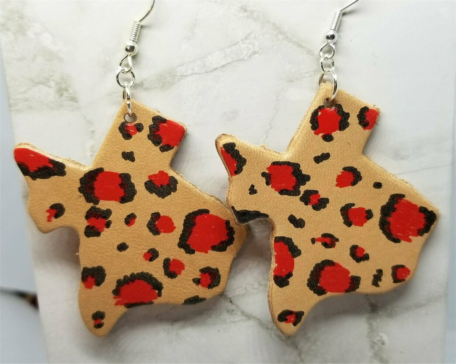 Texas Shaped Hand Painted Red and Black Leopard Print Real Leather Earrings