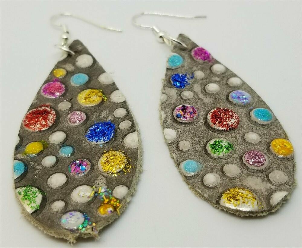 Teardrop Shaped Embossed Colored Glitter Polka Dot Leather Earrings