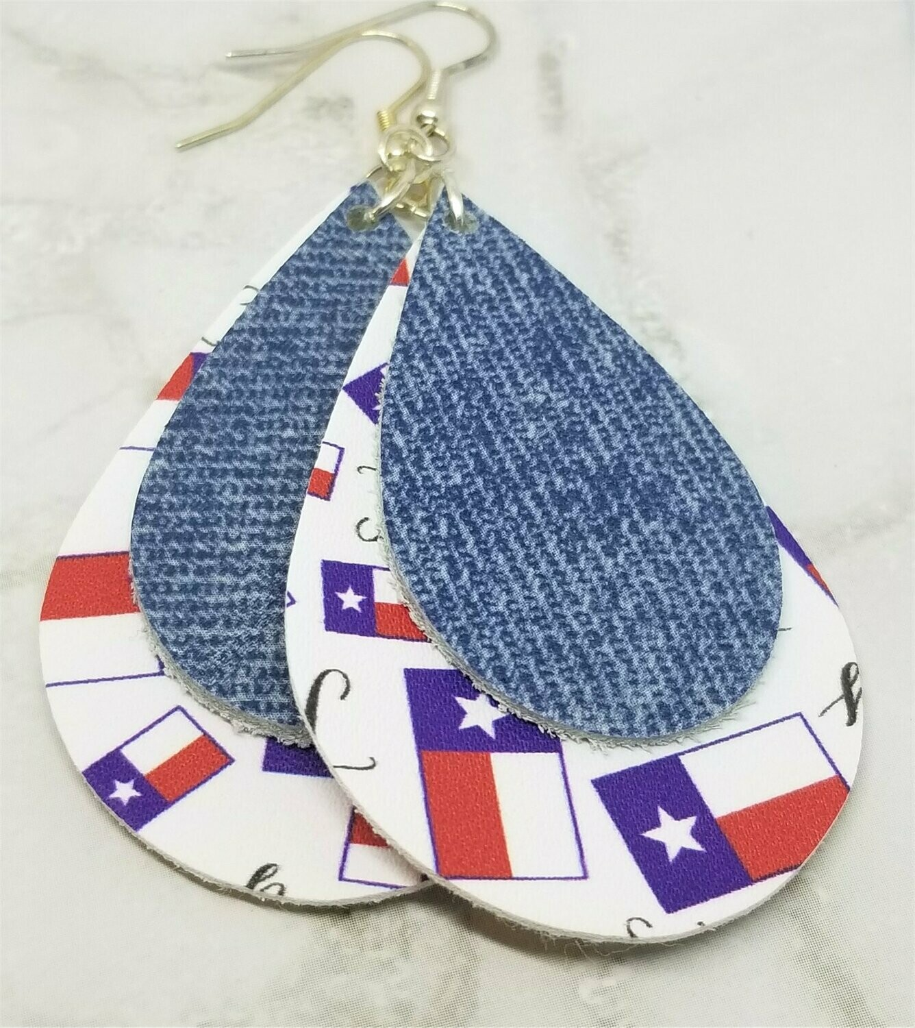Texas Faux Leather Earrings with a Denim Finish Tear Drop Shaped Real Leather Overlay