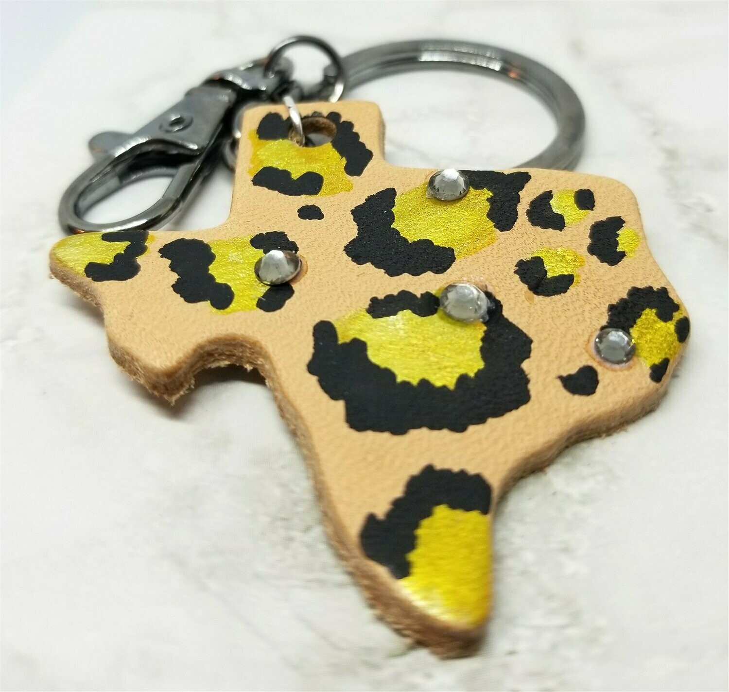Texas Shaped Hand Painted Gold and Black Leopard Print Real Leather Keychain with Rhinestones