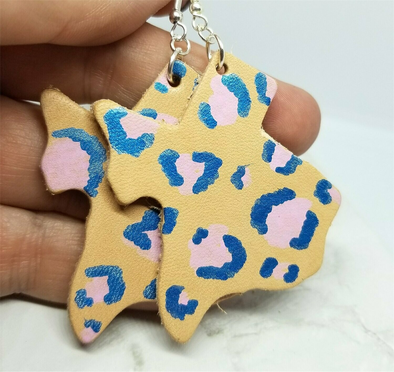 Texas Shaped Hand Painted Pink and Blue Leopard Print Real Leather Earrings