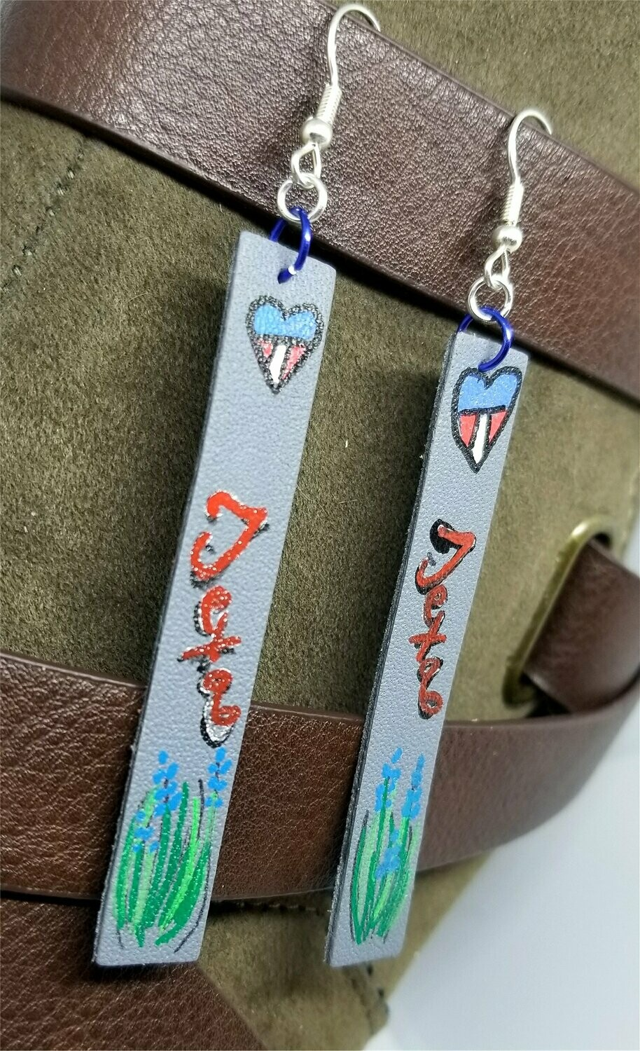 Texas Themed Hand Painted on Gray Real Leather Strip Earrings