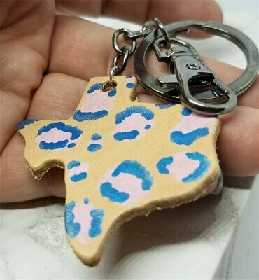 Texas Shaped Hand Painted Pink and Blue Leopard Print Real Leather Keychain