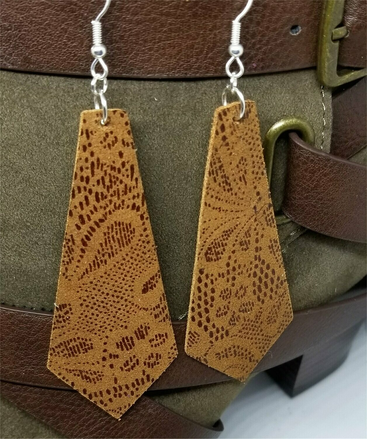 Tie Shaped Brown Real Leather Earrings with a Flowered Lace Pattern