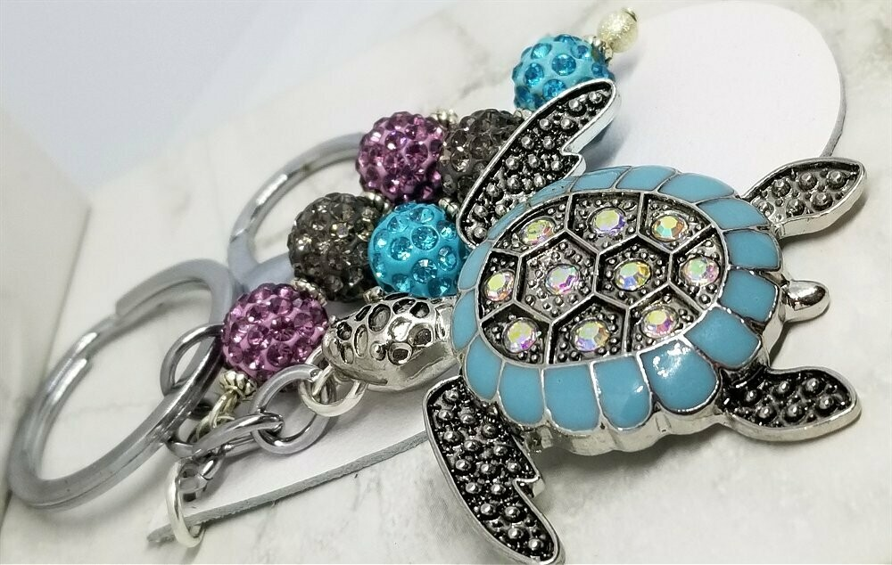 Turtle Pendant with Real Leather on a Silver Toned Metal Keychain