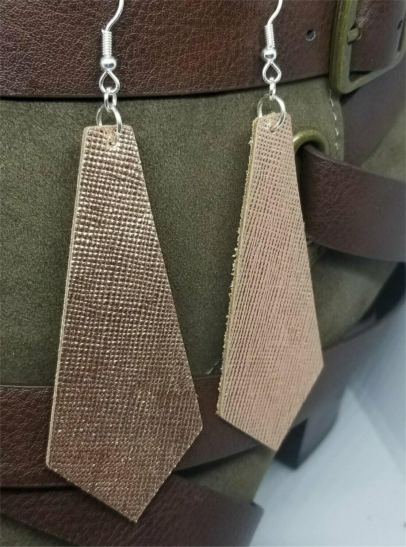 Tie Shaped Metallic Copper Real Leather Earrings