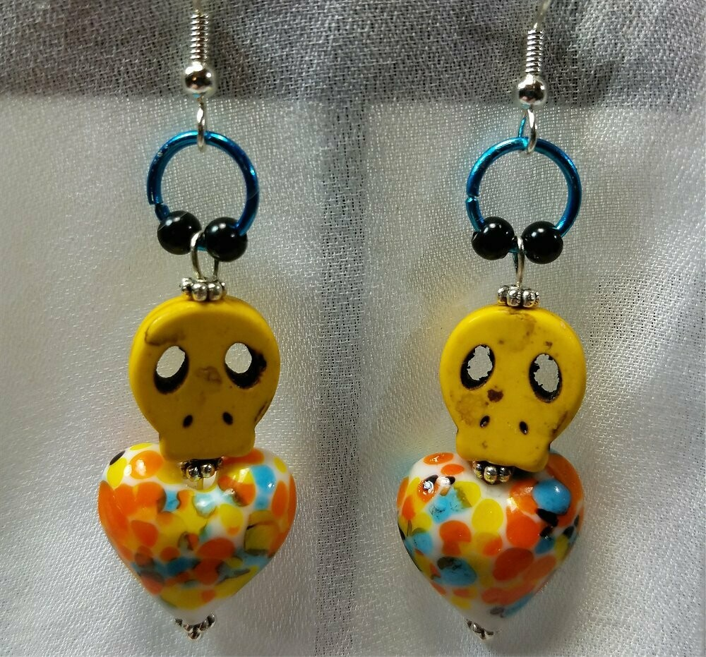 Yellow Skull and Colorful Heart Glass Bead Earrings