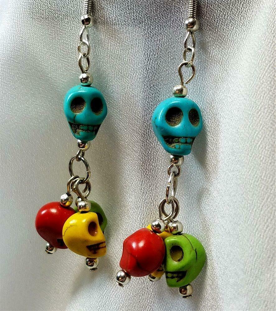 Colorful Magnesite Skulls Dangling Earrings