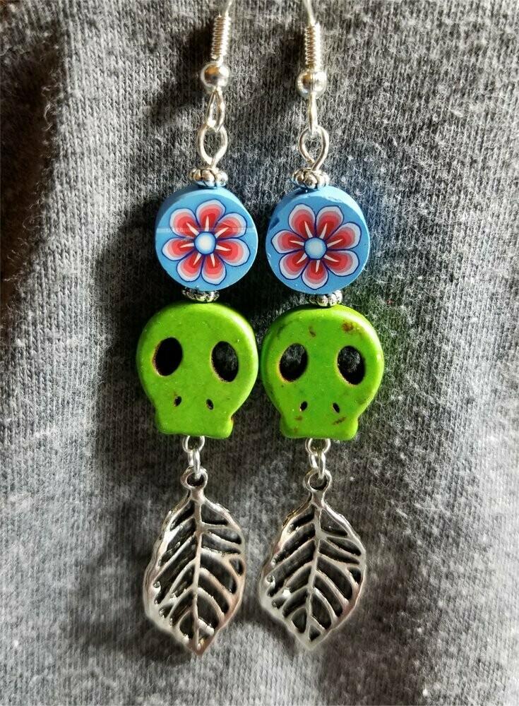 Green Magnesite Skull Bead Earrings with Leaf Dangles