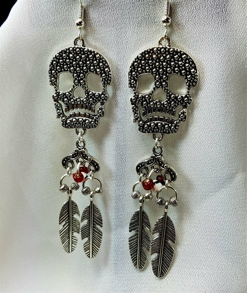 Skulls and Feathers Chandelier Earrings