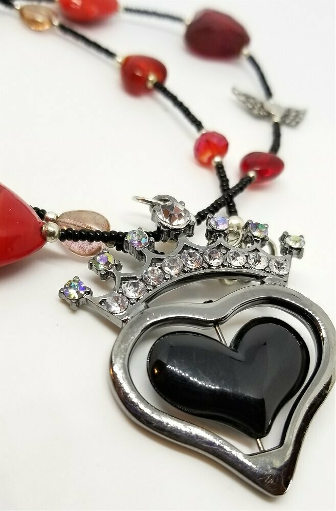 Heart Themed Black Seed Bead Necklace with Red Beads and Crowned Heart Pendant