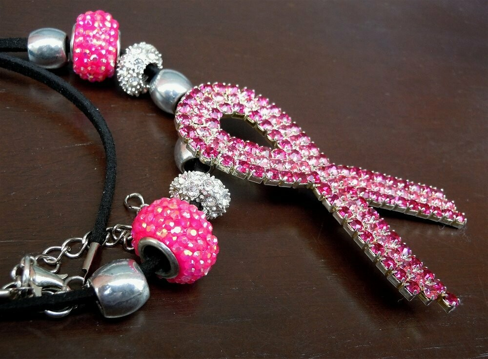 Pink Ribbon Crystal Encrusted Necklace with Pandora Style Beads