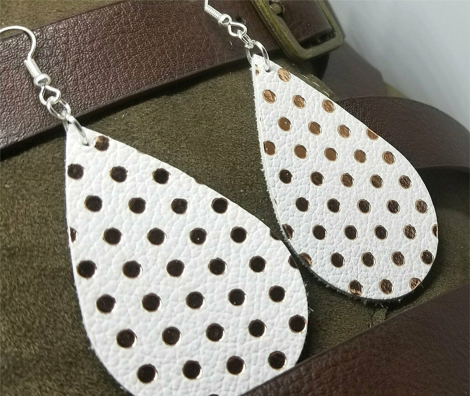 White Teardrop Shaped with Gold Polka Dots Real Leather Earrings