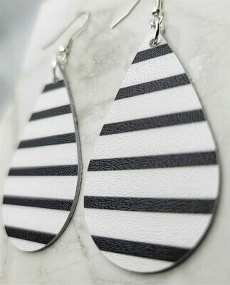 White with Black Stripes Tear Drop Shaped Real Leather Earrings