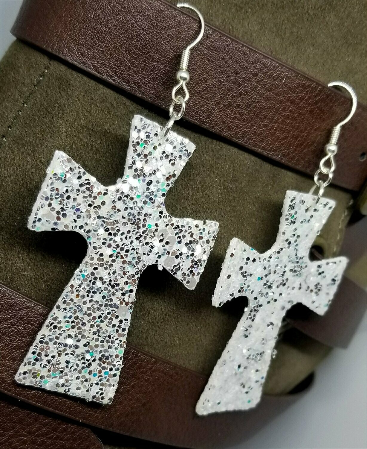 White with Silver Glitter Very Sparkly Double Sided FAUX Leather Cross Earrings