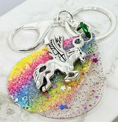 Winged Unicorn Charm on Faux Rainbow Glitter Leather Keychain