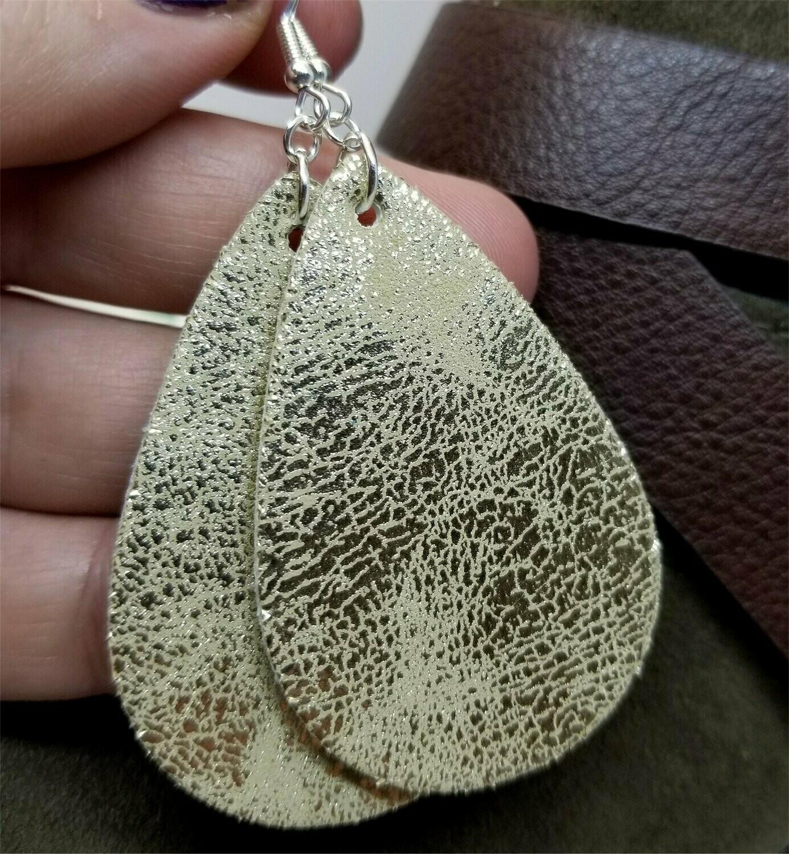 Worn Shiny Gold Tear Drop Shaped FAUX Leather Earrings