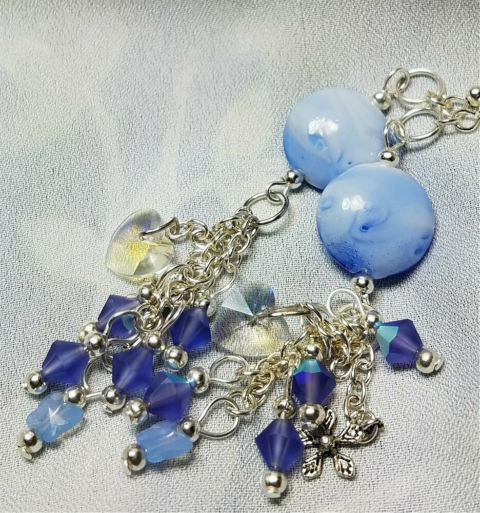 Blue Lampwork Style Lentil Bead Earrings with Sparkling Dangles