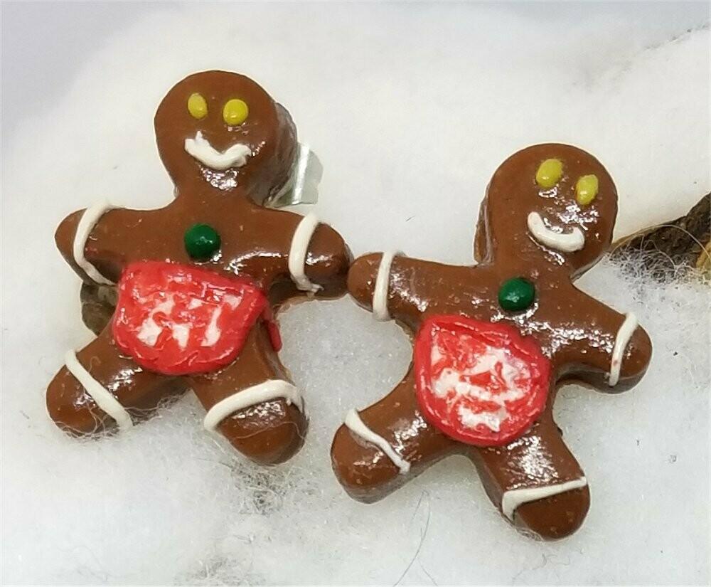 Gingerbread Women Polymer Clay Post Earrings