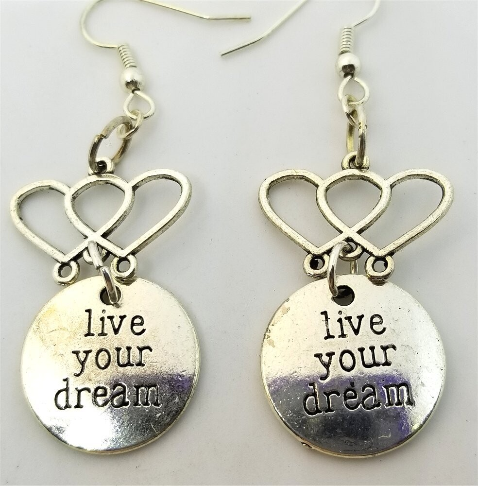 Live Your Dream Charm Dangling from a Double Heart Charm Drop Earrings