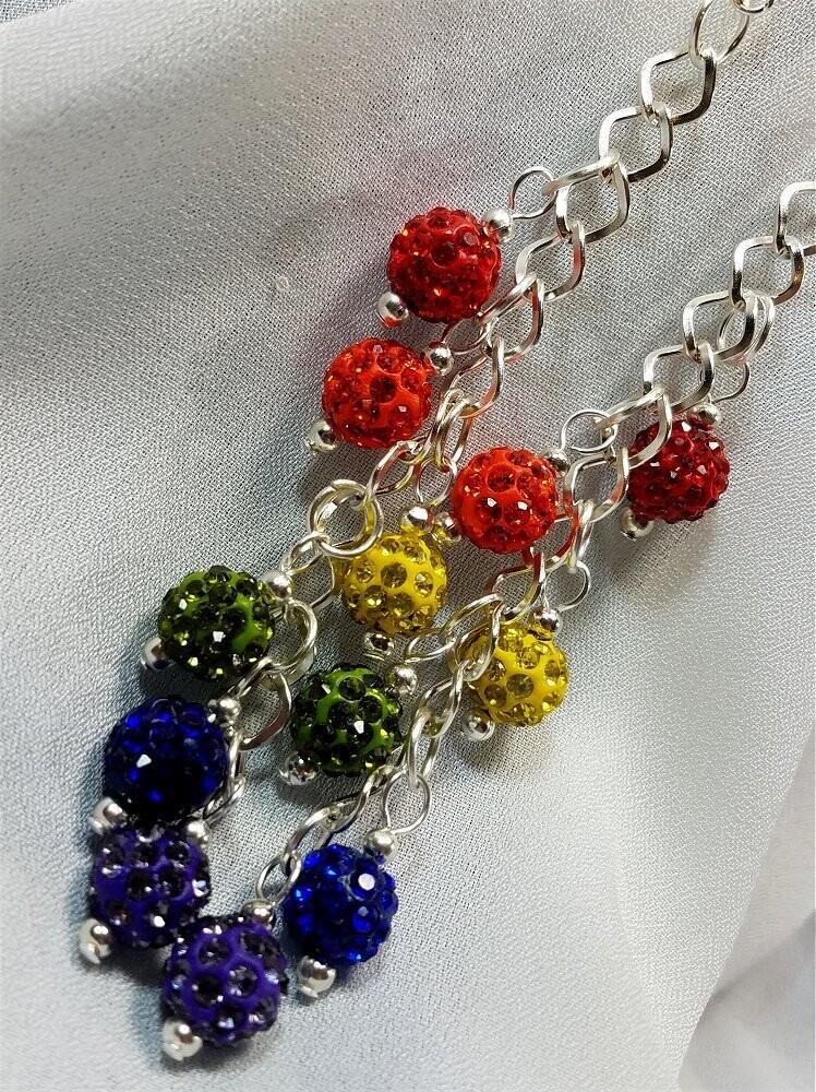 Rainbow Cascading Pave Bead Earrings