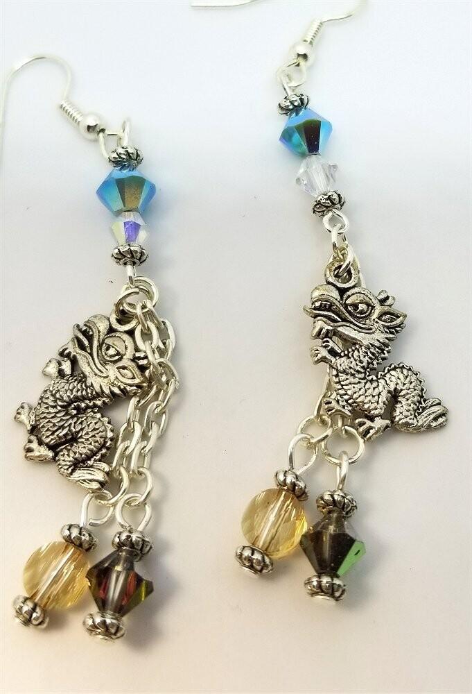 Dragon Charm Dangle Earrings with Swarovski Crystals