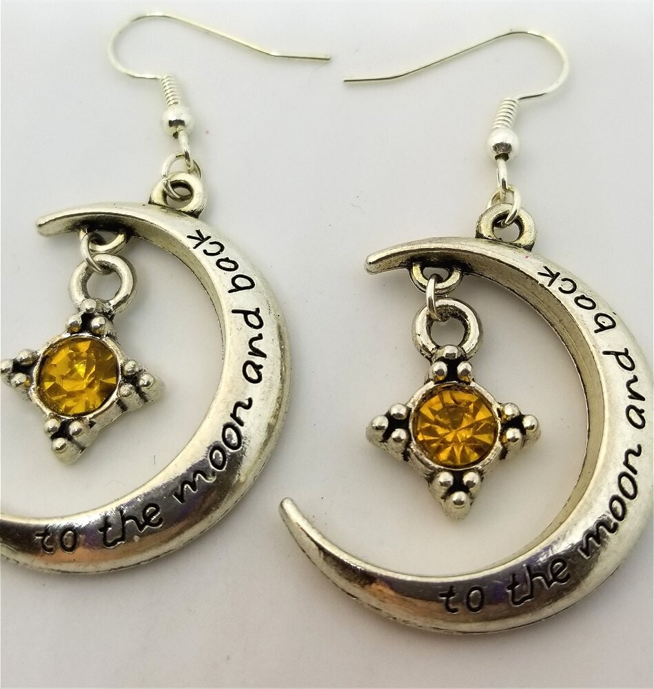 Love You To The Moon and Back Dangle Earrings with Golden Yellow Crystal Charm Dangles
