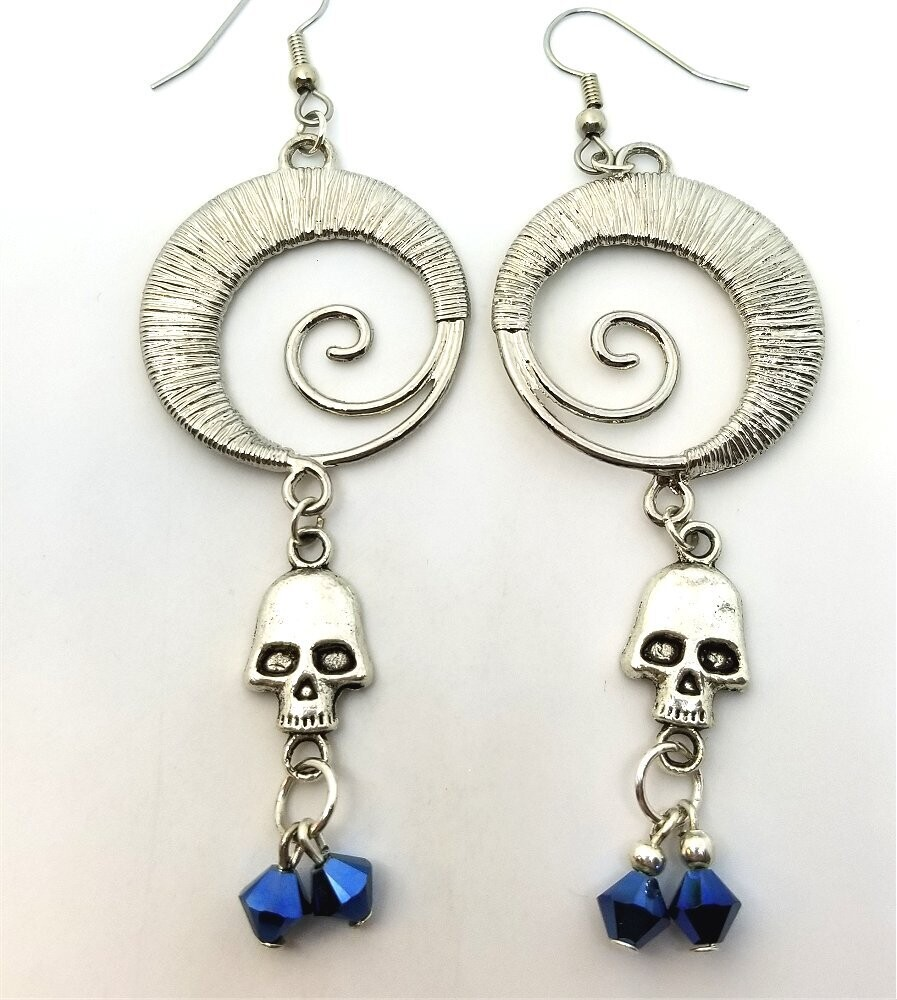 Silver Wire Wrapped Circular Swirl Earrings with Skull and Blue Swarovski Crystal Dangles