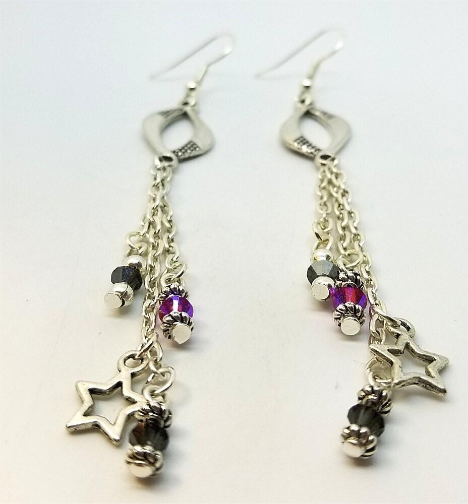 Dangle Earrings with Swarovski Crystal and Star Charm Dangles