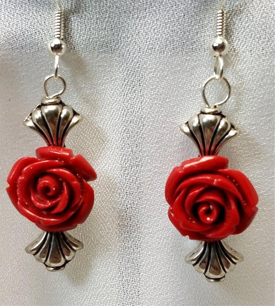 Glass Rose Bead Drop Earrings