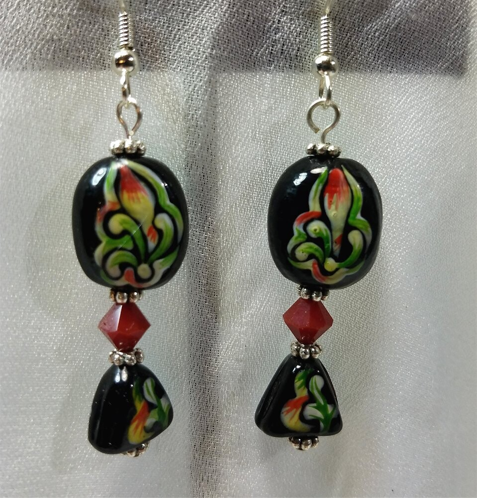Lampwork Style Flower Glass Bead Dangle Earrings with Red Swarovski Crystals