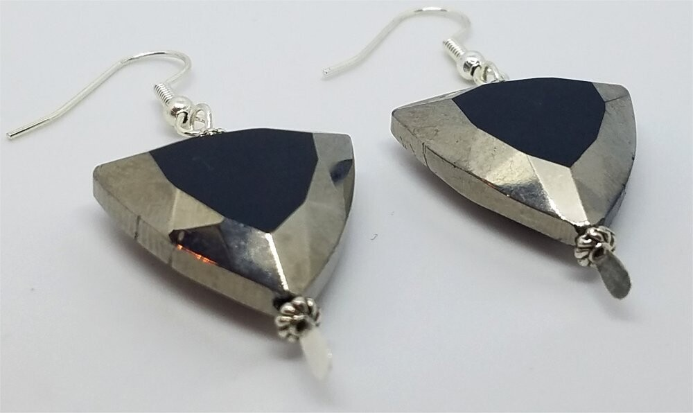 Rounded Triangle Silver Glass Bead Earrings