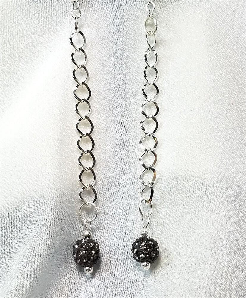 Gray Pave Bead Long Dangle Earrings