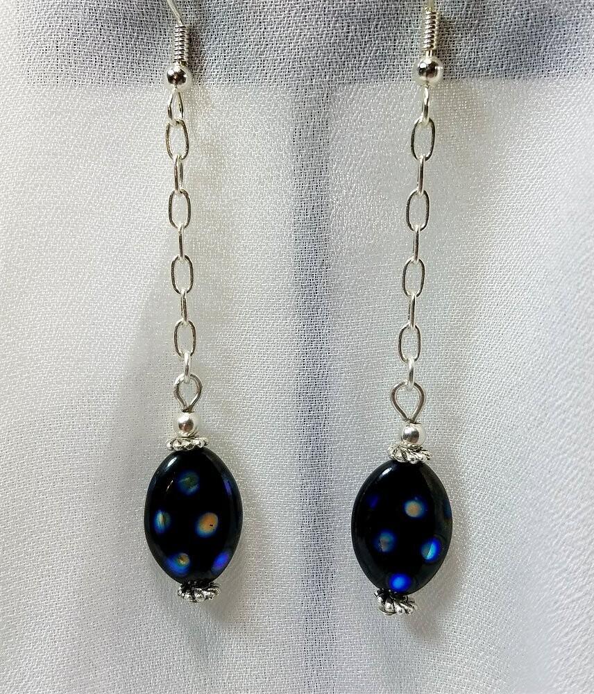 Oil Slick Polka Dot Black Glass Bead Earrings