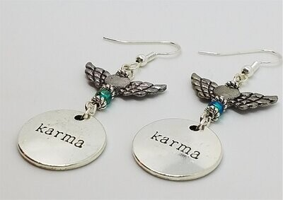 Karma Dangle Earrings with Birds and Metal Winged Heart Beads