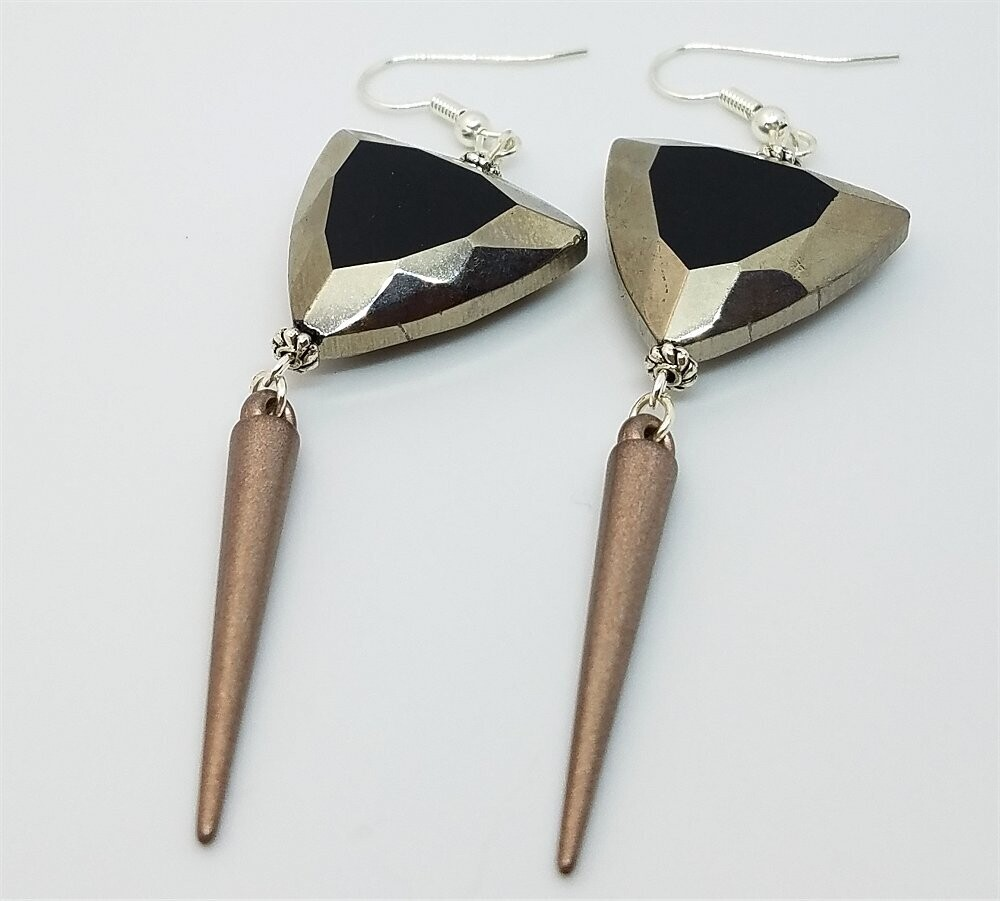 Round Triangle Silver Glass Beads with Spike Charm Dangles
