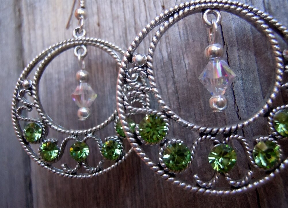 Round Silver Earrings with Peridot Crystals and a Clear AB Swarovski Crystal Dangle