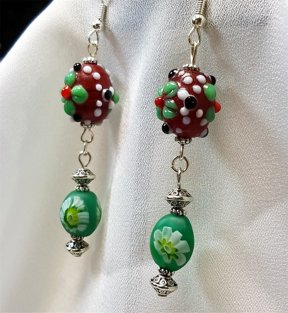 Lampwork Style Flower Glass Bead Dangle Earrings